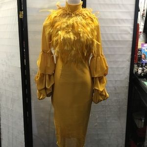 Feather puff sleeve sexy party mustard dress